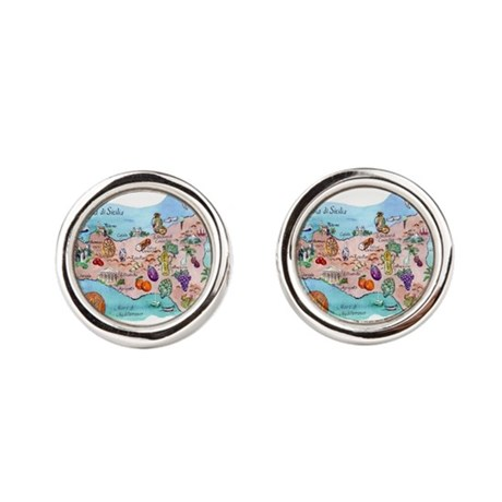Map Of Sicily Cufflinks