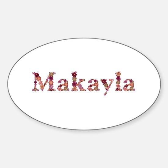 Makayla Pink Flowers Oval Decal