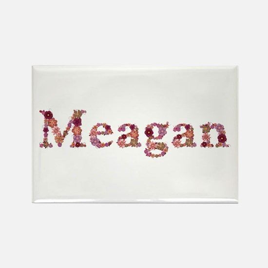 Meagan Pink Flowers Rectangle Magnet