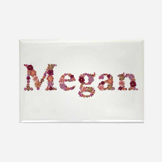 Megan Pink Flowers Rectangle Magnet