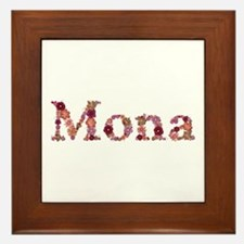Mona Pink Flowers Framed Tile