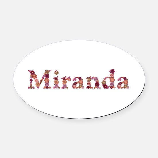 Miranda Pink Flowers Oval Car Magnet