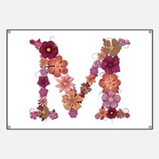 M Pink Flowers Banner