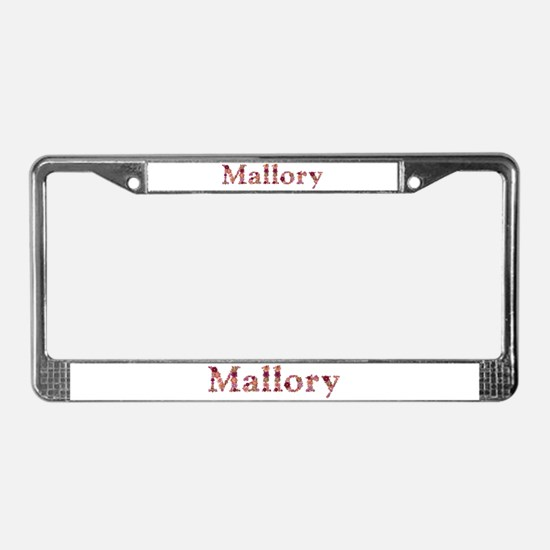 Mallory Pink Flowers License Plate Frame