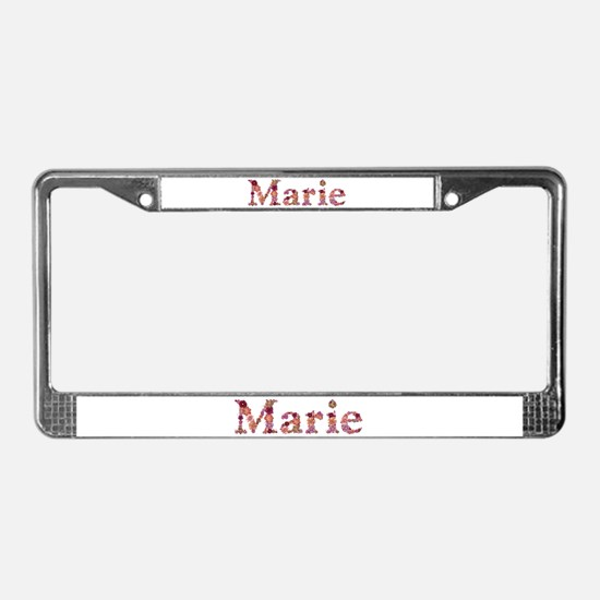 Marie Pink Flowers License Plate Frame