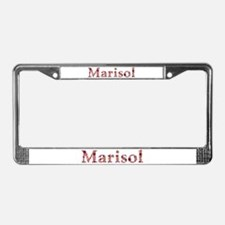 Marisol Pink Flowers License Plate Frame