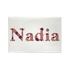 Nadia Pink Flowers Rectangle Magnet