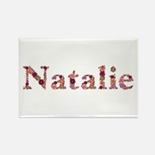 Natalie Pink Flowers Rectangle Magnet