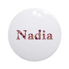 Nadia Pink Flowers Round Ornament