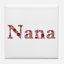 Nana Pink Flowers Tile Coaster