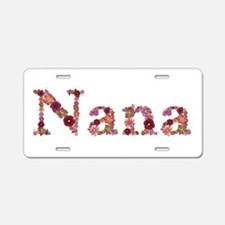 Nana Pink Flowers Aluminum License Plate