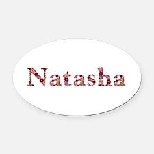 Natasha Pink Flowers Oval Car Magnet