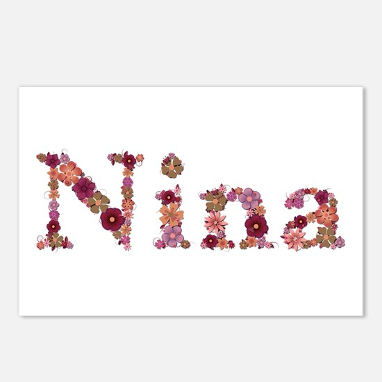Nina Pink Flowers Postcards 8 Pack