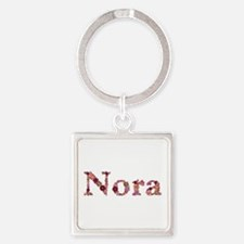 Nora Pink Flowers Square Keychain