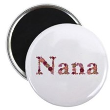 Nana Pink Flowers Round Magnet 10 Pack