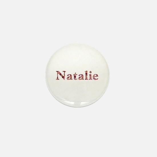 Natalie Pink Flowers Mini Button