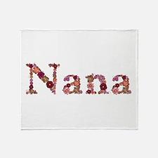 Nana Pink Flowers Throw Blanket