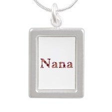 Nana Pink Flowers Silver Portrait Necklace