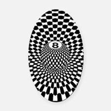 Checkered Eightball  Oval Car Magnet
