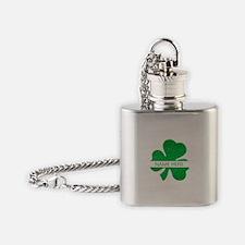 Custom Name Shamrock Flask Necklace