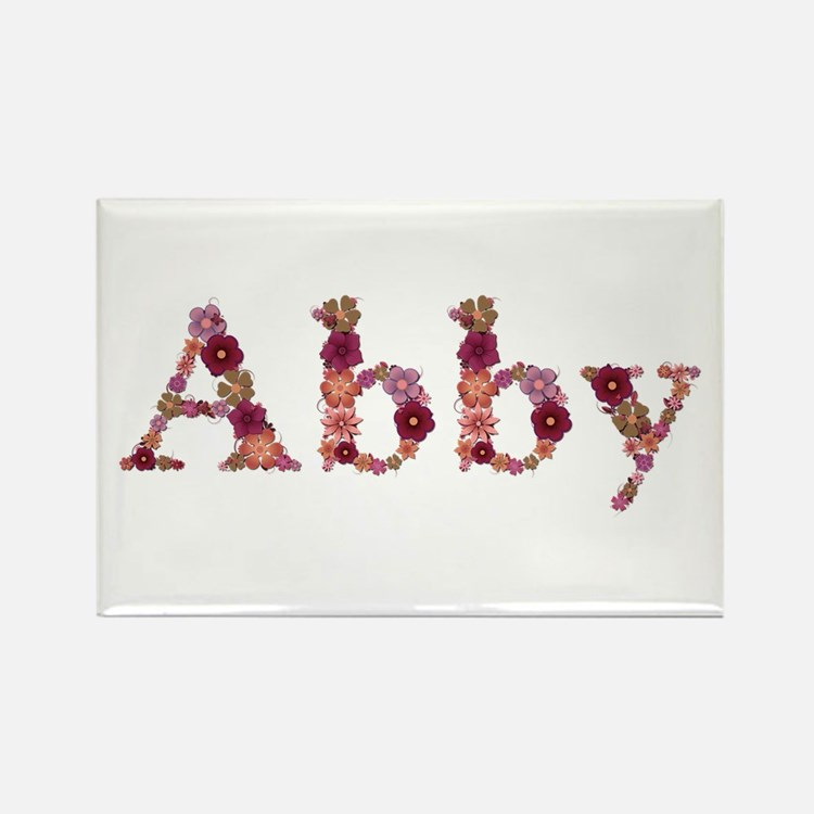Abby Pink Flowers Rectangle Magnet