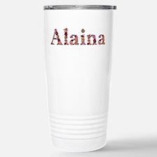 Alaina Pink Flowers Stainless Steel Travel Mug