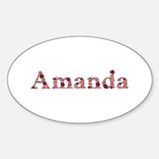 Amanda Pink Flowers Oval Decal