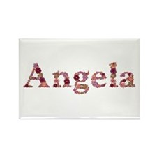 Angela Pink Flowers Rectangle Magnet