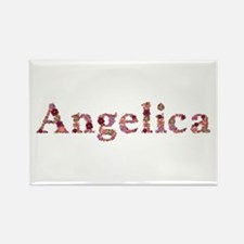 Angelica Pink Flowers Rectangle Magnet