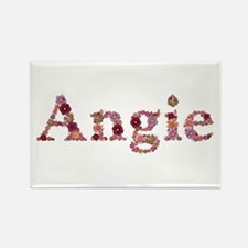 Angie Pink Flowers Rectangle Magnet