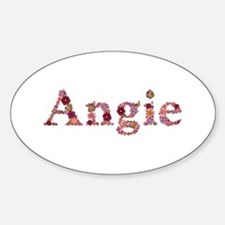 Angie Pink Flowers Oval Decal