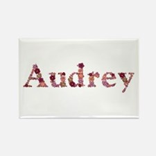 Audrey Pink Flowers Rectangle Magnet