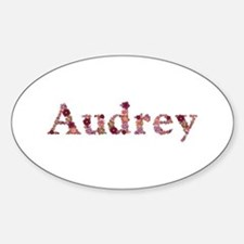 Audrey Pink Flowers Oval Decal