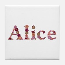 Alice Pink Flowers Tile Coaster