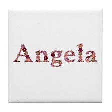 Angela Pink Flowers Tile Coaster