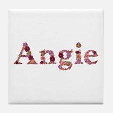 Angie Pink Flowers Tile Coaster