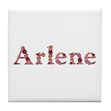 Arlene Pink Flowers Tile Coaster