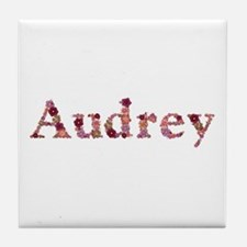 Audrey Pink Flowers Tile Coaster