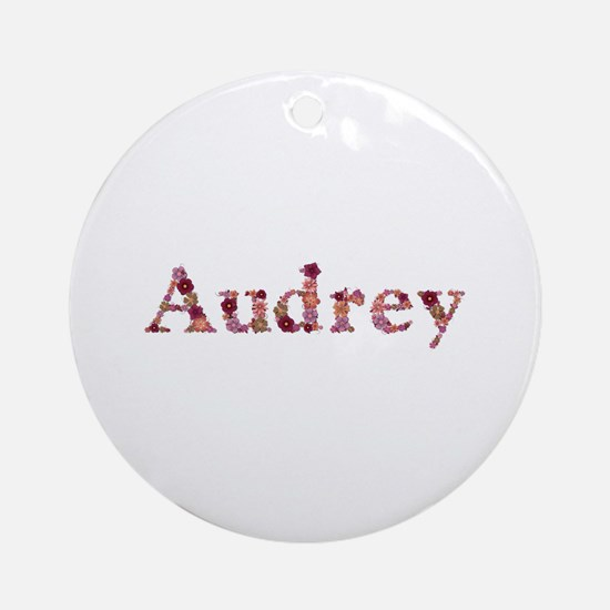 Audrey Pink Flowers Round Ornament