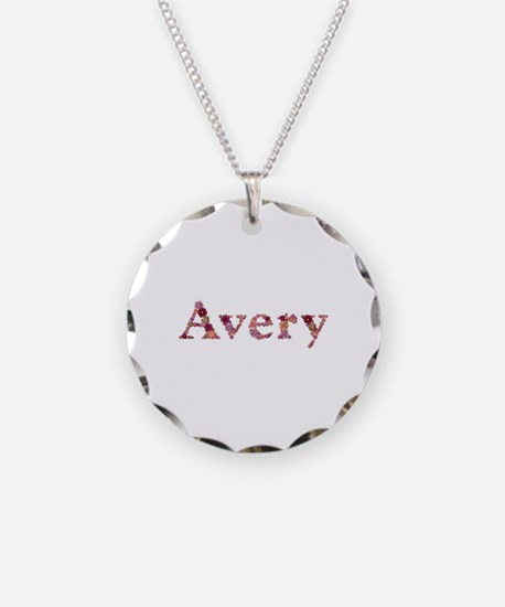 Avery Pink Flowers Necklace Circle Charm