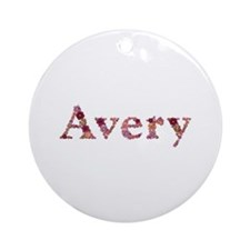 Avery Pink Flowers Round Ornament