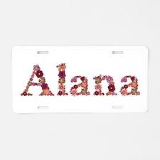 Alana Pink Flowers Aluminum License Plate