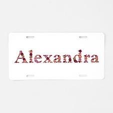 Alexandra Pink Flowers Aluminum License Plate