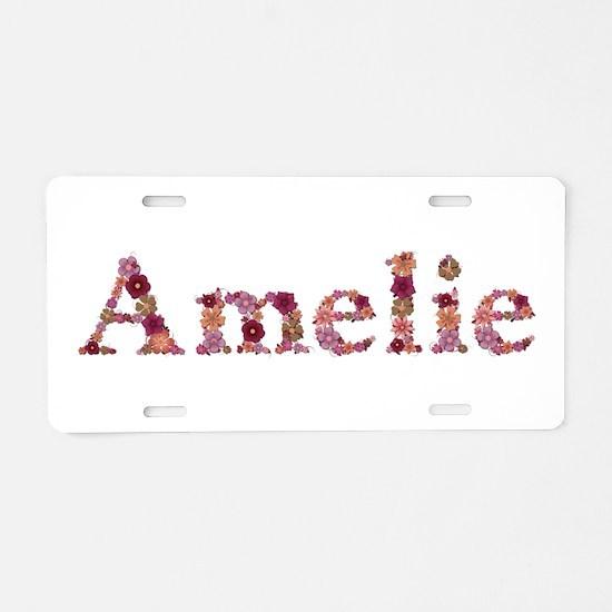 Amelie Pink Flowers Aluminum License Plate
