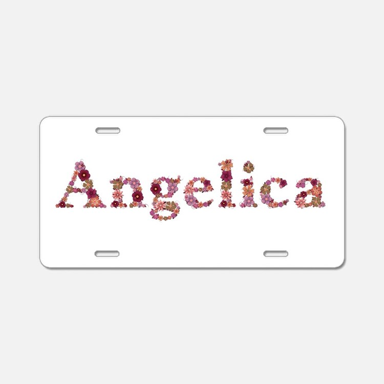 Angelica Pink Flowers Aluminum License Plate