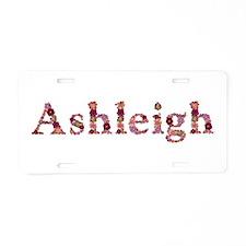 Ashleigh Pink Flowers Aluminum License Plate