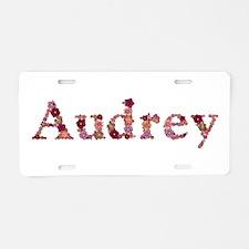 Audrey Pink Flowers Aluminum License Plate