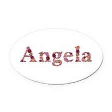 Angela Pink Flowers Oval Car Magnet