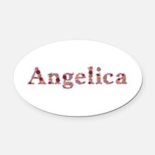 Angelica Pink Flowers Oval Car Magnet