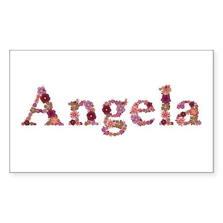 Angela Pink Flowers Rectangle Sticker
